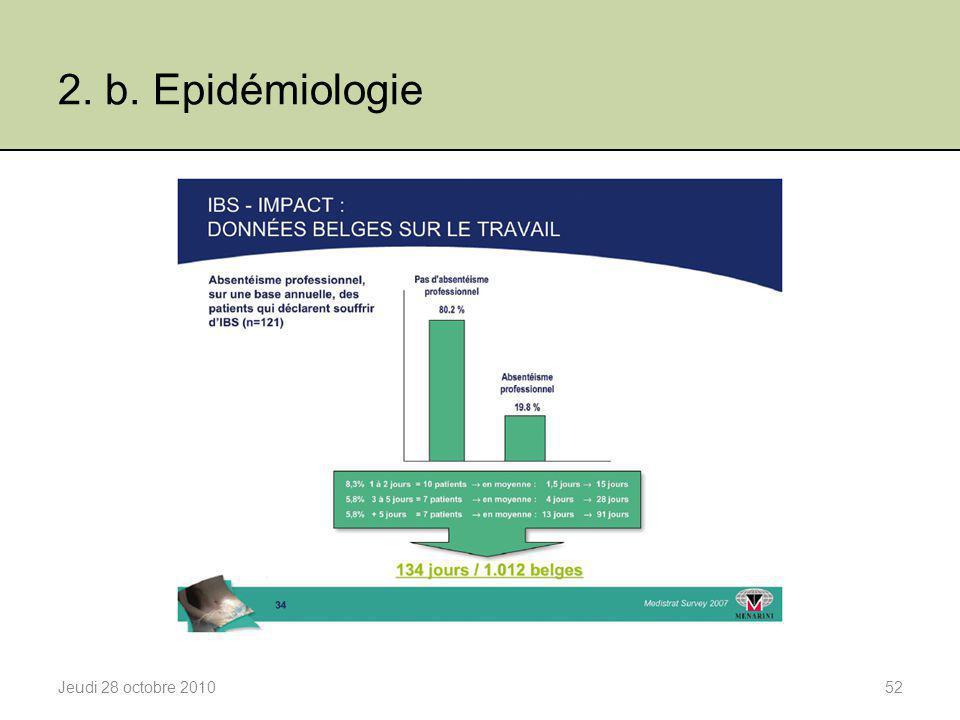 2. b. Epidémiologie Jeudi 28 octobre 201052