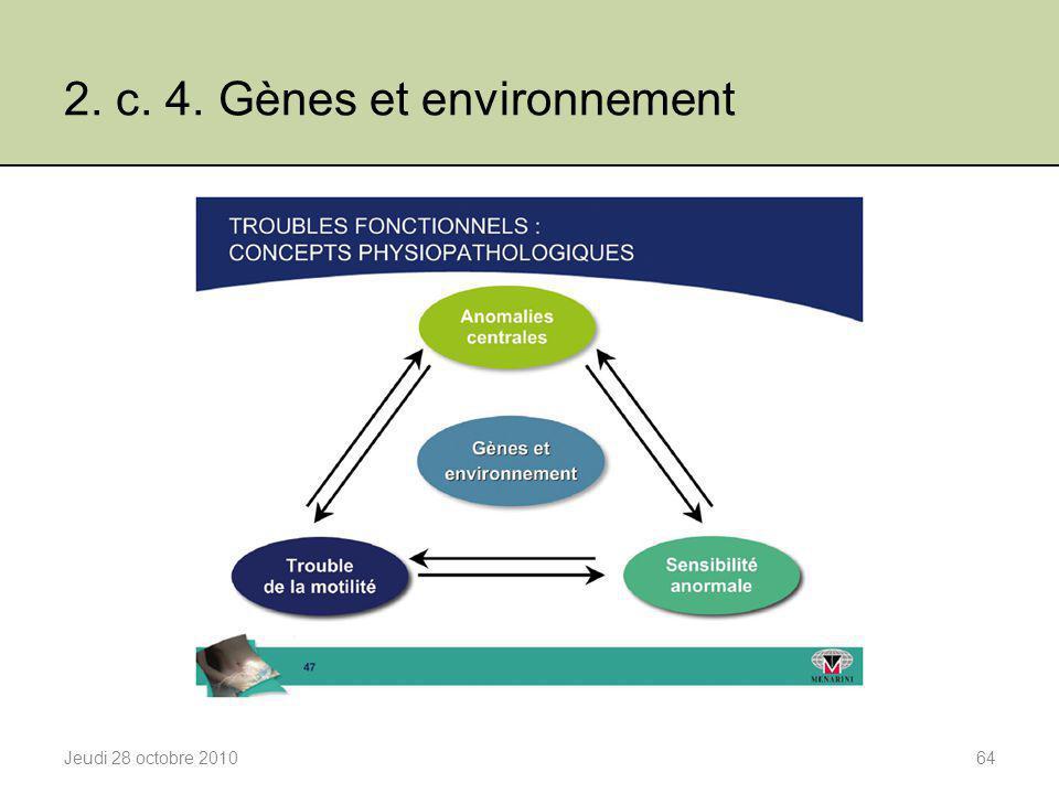 2. c. 4. Gènes et environnement Jeudi 28 octobre 201064