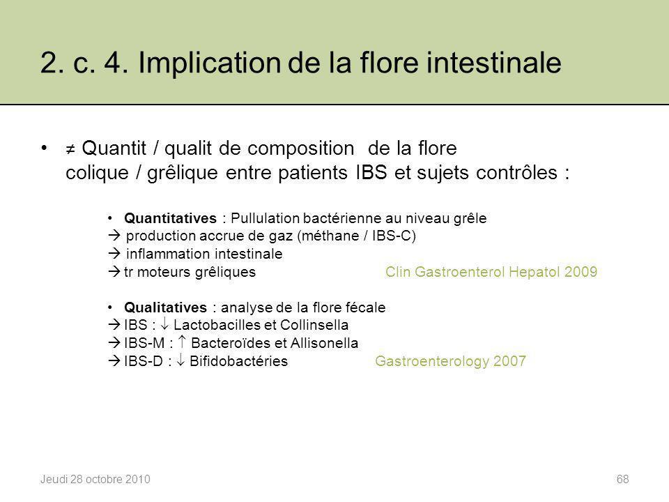 2. c. 4. Implication de la flore intestinale Jeudi 28 octobre 201068 ≠ Quantit / qualit de composition de la flore colique / grêlique entre patients I