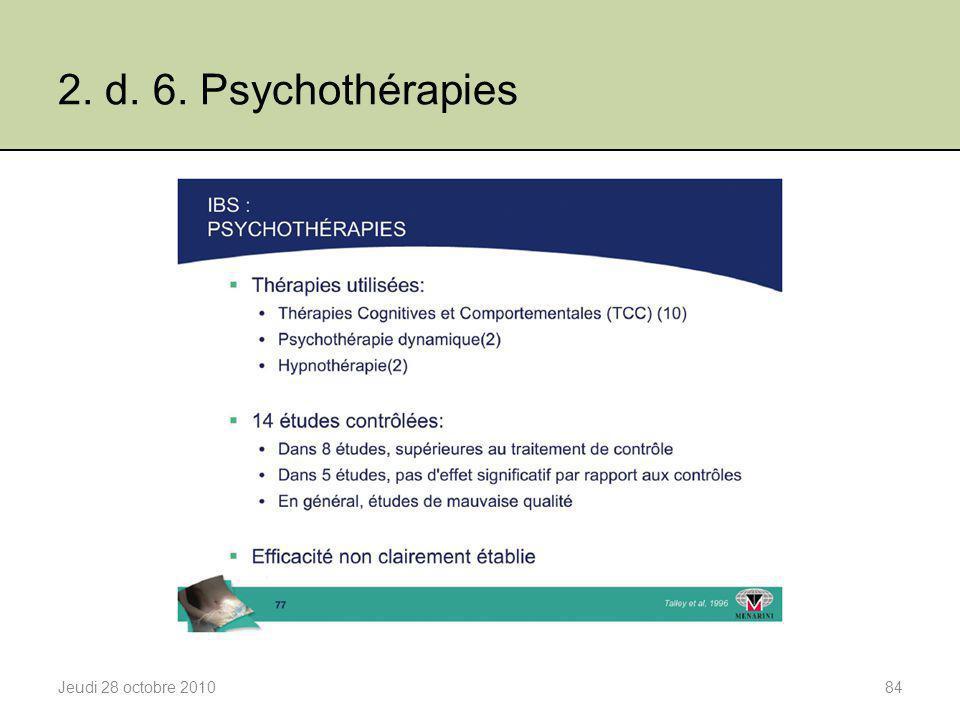2. d. 6. Psychothérapies Jeudi 28 octobre 201084