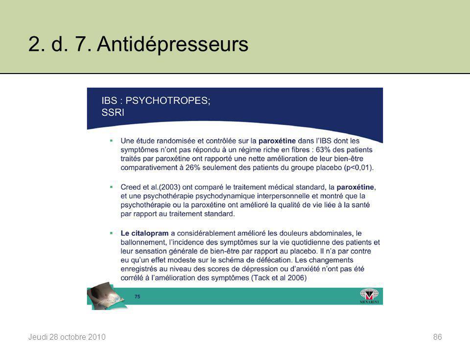 2. d. 7. Antidépresseurs Jeudi 28 octobre 201086
