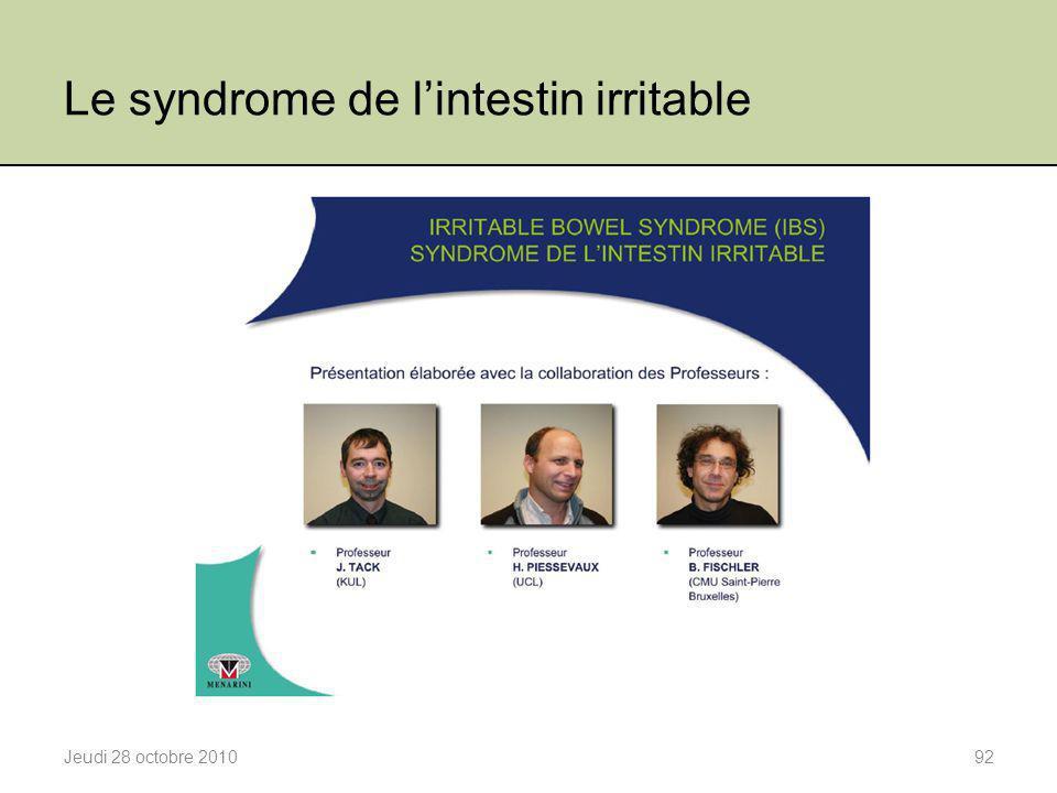 Le syndrome de l'intestin irritable Jeudi 28 octobre 201092
