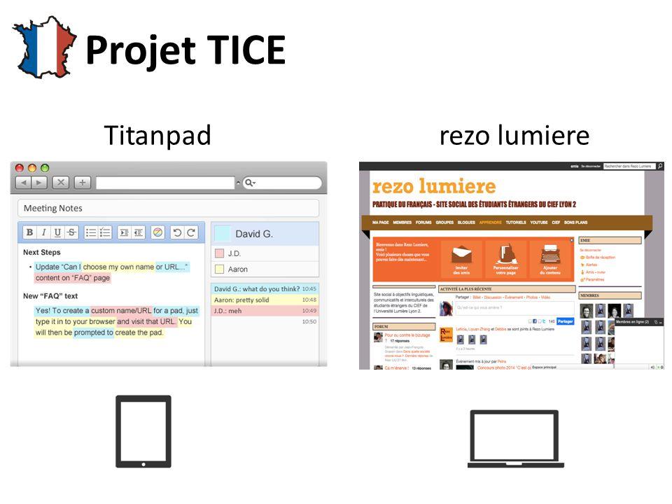 Titanpad Projet TICE rezo lumiere