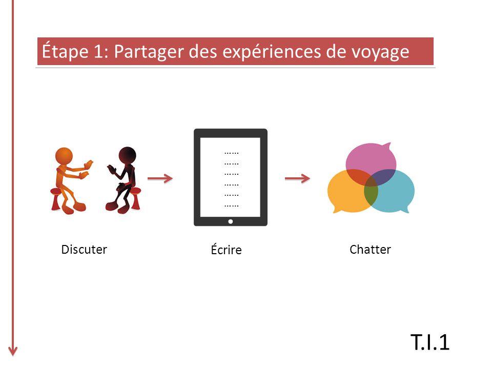 Étape 1: Partager des expériences de voyage …… Discuter Écrire Chatter T.I.1