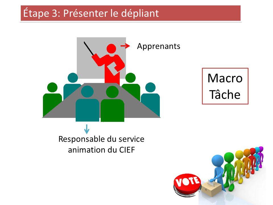 Étape 3: Présenter le dépliant Responsable du service animation du CIEF Apprenants Macro Tâche