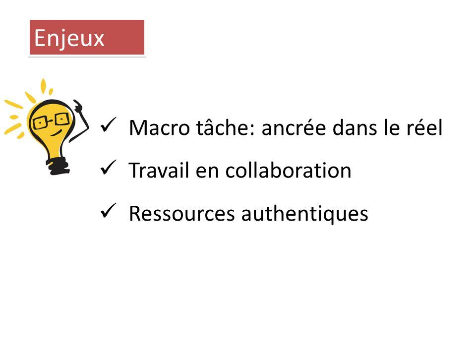 Macro tâche: ancrée dans le réel Travail en collaboration Ressources authentiques Enjeux