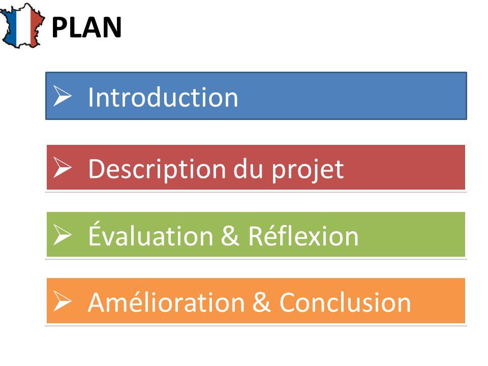  Introduction  Évaluation & Réflexion  Description du projet  Amélioration & Conclusion PLAN