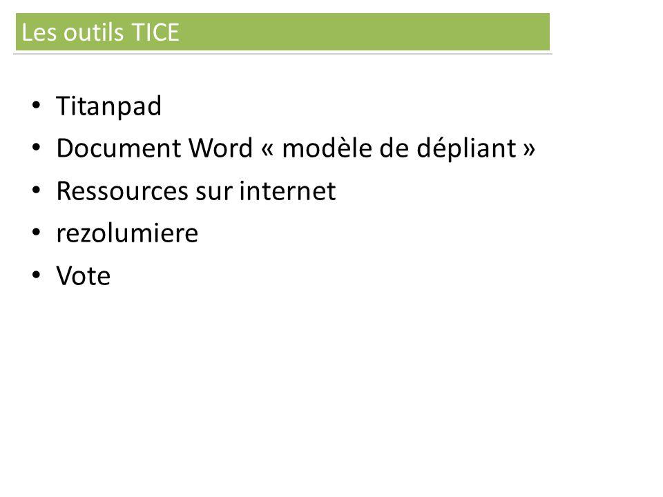 Titanpad Document Word « modèle de dépliant » Ressources sur internet rezolumiere Vote Les outils TICE