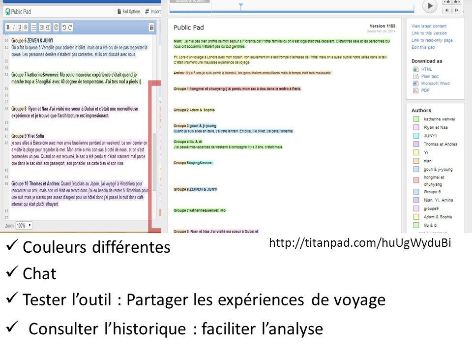Couleurs différentes Chat Tester l'outil : Partager les expériences de voyage Consulter l'historique : faciliter l'analyse http://titanpad.com/huUgWyduBi
