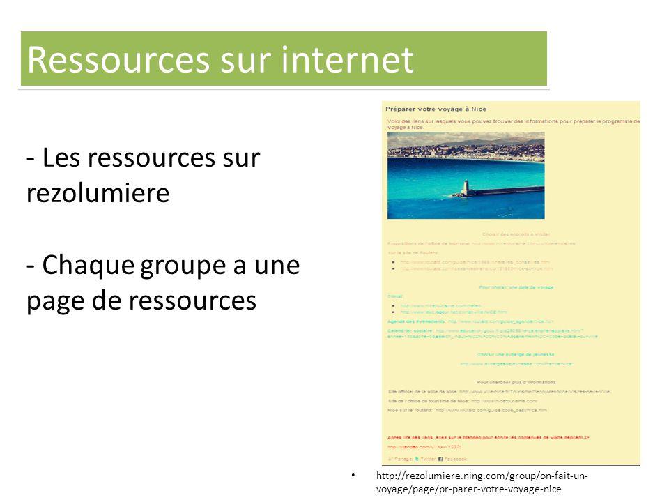- Les ressources sur rezolumiere - Chaque groupe a une page de ressources http://rezolumiere.ning.com/group/on-fait-un- voyage/page/pr-parer-votre-voyage-nice Ressources sur internet