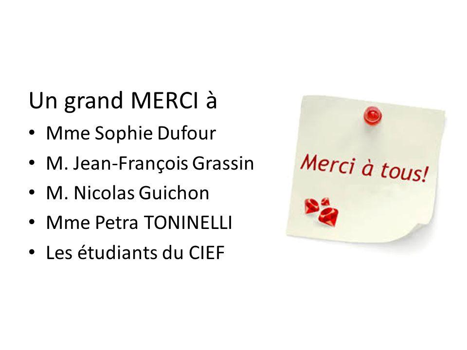 Un grand MERCI à Mme Sophie Dufour M. Jean-François Grassin M. Nicolas Guichon Mme Petra TONINELLI Les étudiants du CIEF