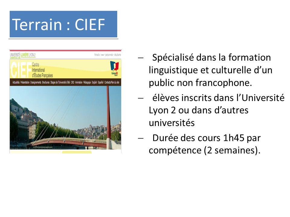 Terrain : CIEF  Spécialisé dans la formation linguistique et culturelle d'un public non francophone.  élèves inscrits dans l'Université Lyon 2 ou da
