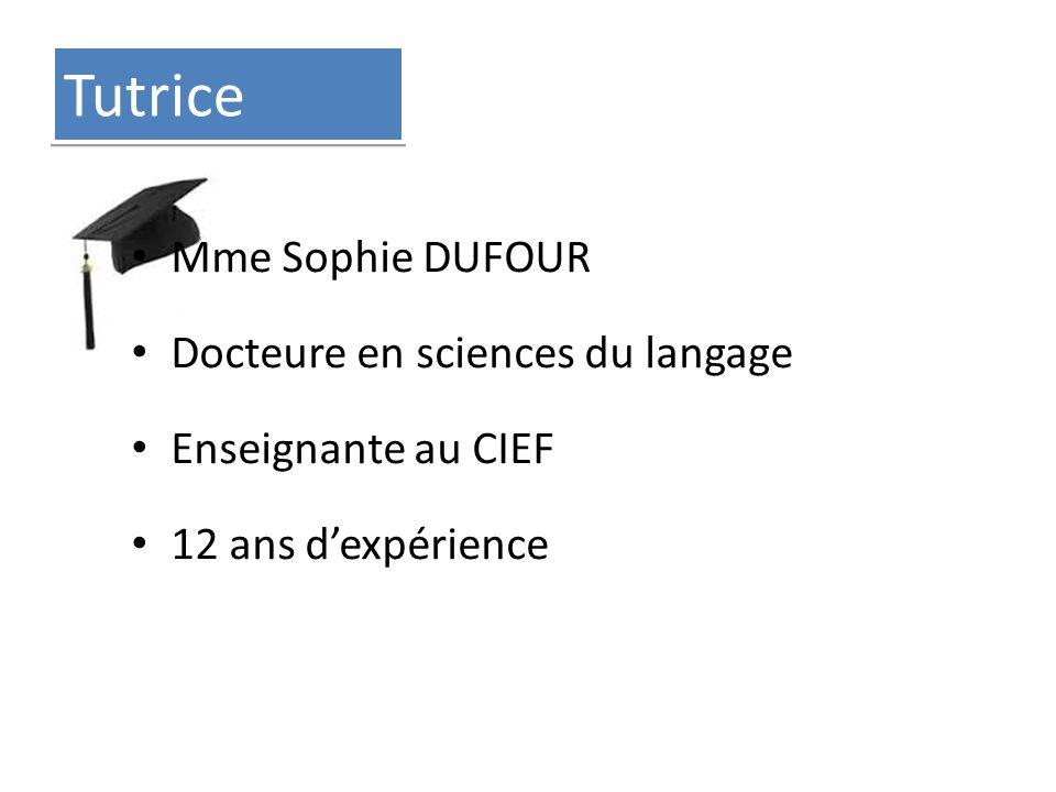 Tutrice Mme Sophie DUFOUR Docteure en sciences du langage Enseignante au CIEF 12 ans d'expérience