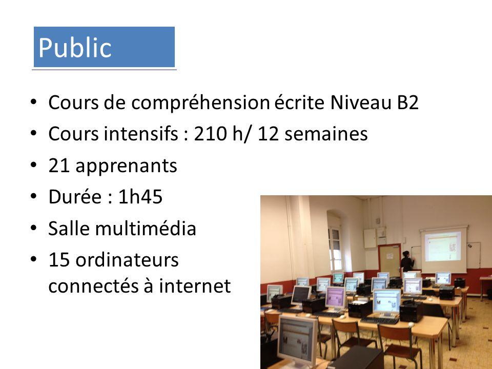 Public Cours de compréhension écrite Niveau B2 Cours intensifs : 210 h/ 12 semaines 21 apprenants Durée : 1h45 Salle multimédia 15 ordinateurs connectés à internet