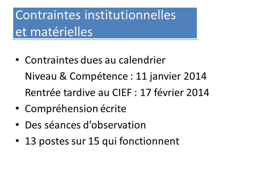 Contraintes institutionnelles et matérielles Contraintes dues au calendrier Niveau & Compétence : 11 janvier 2014 Rentrée tardive au CIEF : 17 février