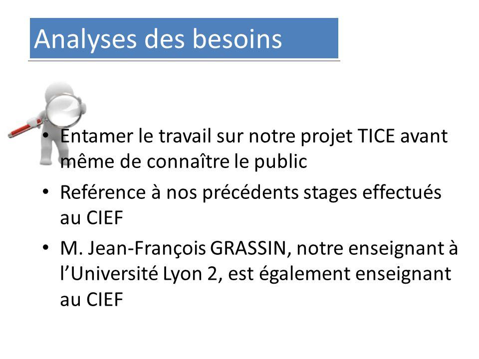 Analyses des besoins Entamer le travail sur notre projet TICE avant même de connaître le public Reférence à nos précédents stages effectués au CIEF M.