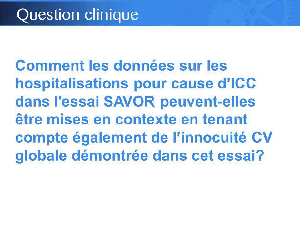 Comment les données sur les hospitalisations pour cause d'ICC dans l essai SAVOR peuvent-elles être mises en contexte en tenant compte également de l'innocuité CV globale démontrée dans cet essai?