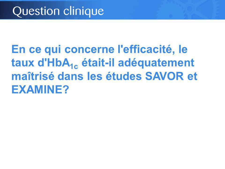 En ce qui concerne l efficacité, le taux d HbA 1c était-il adéquatement maîtrisé dans les études SAVOR et EXAMINE?