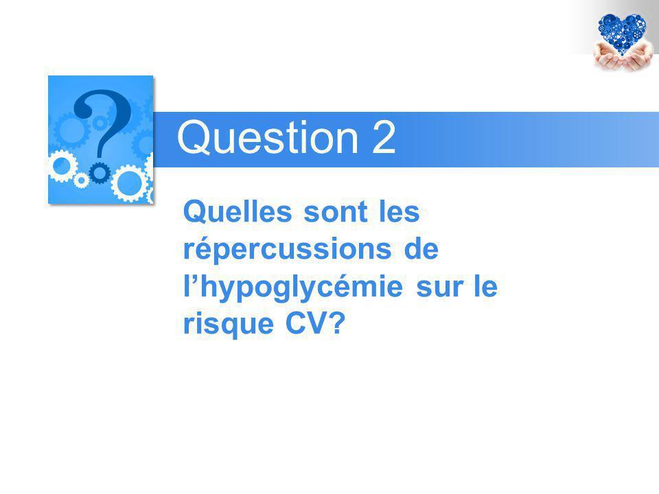 Quelles sont les répercussions de l'hypoglycémie sur le risque CV? Question 2