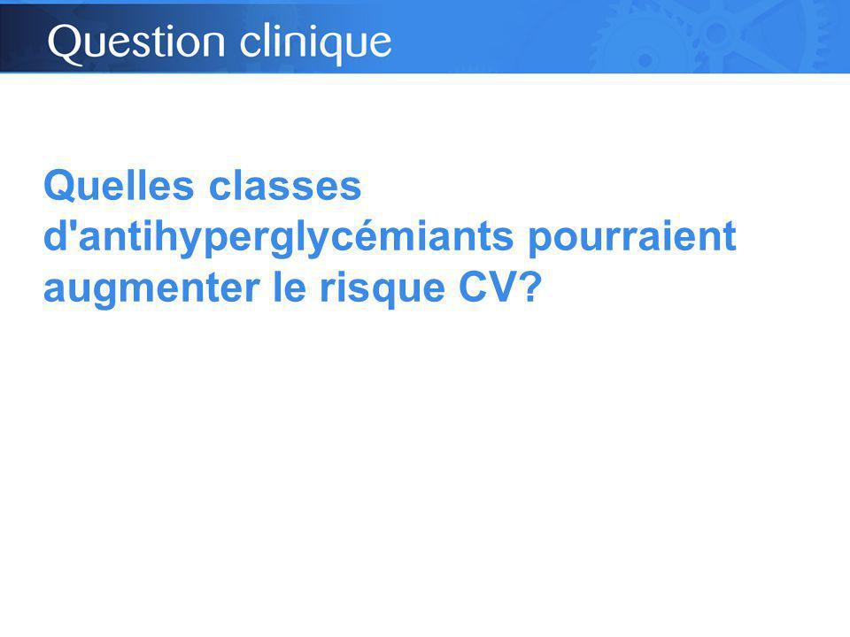 Quelles classes d antihyperglycémiants pourraient augmenter le risque CV?