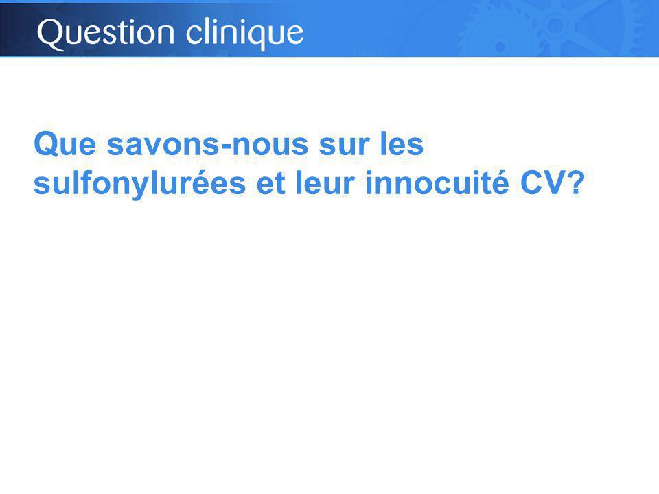 Que savons-nous sur les sulfonylurées et leur innocuité CV?
