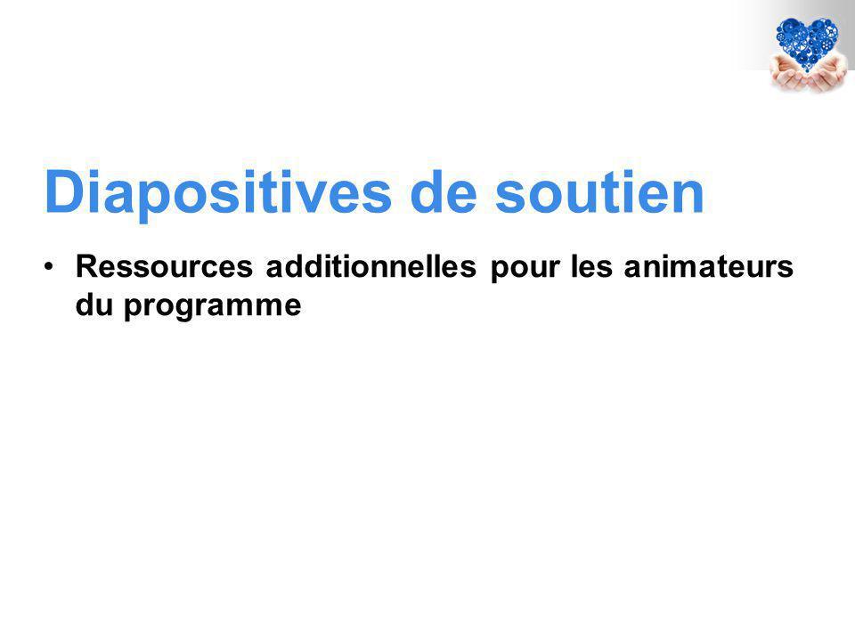 Diapositives de soutien Ressources additionnelles pour les animateurs du programme
