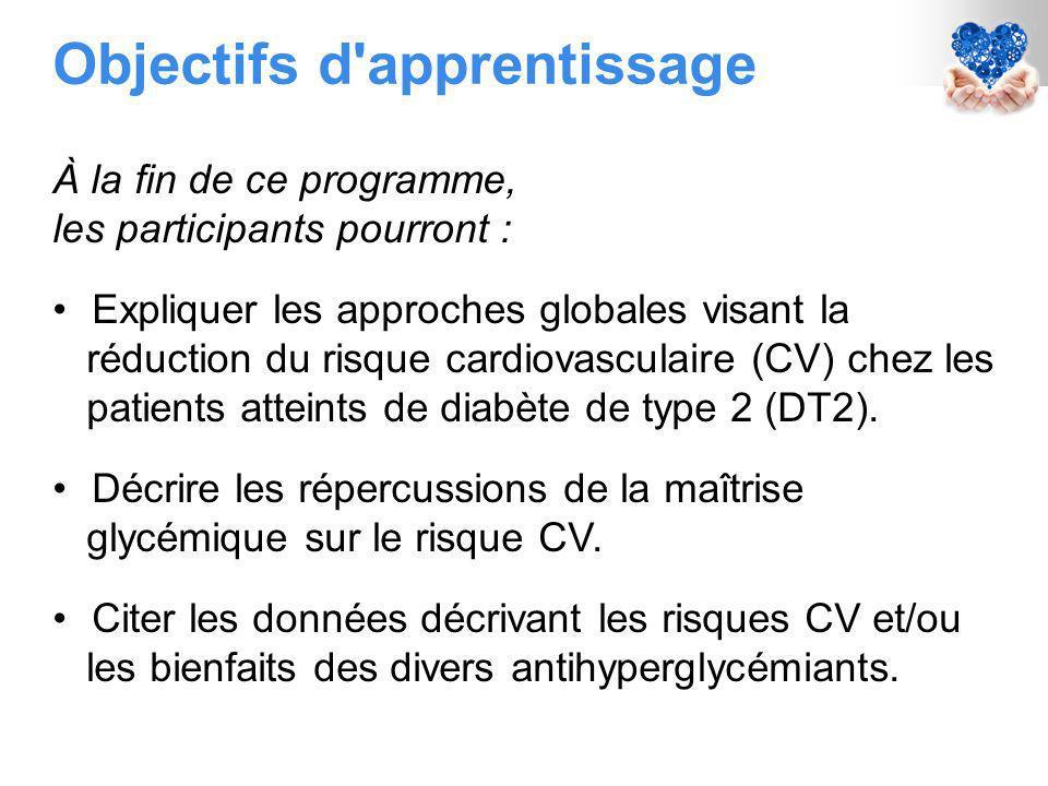 Objectifs d apprentissage À la fin de ce programme, les participants pourront : Expliquer les approches globales visant la réduction du risque cardiovasculaire (CV) chez les patients atteints de diabète de type 2 (DT2).