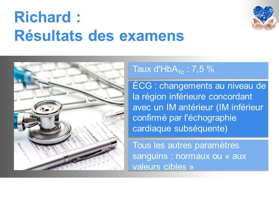 Richard : Résultats des examens Taux d HbA 1c : 7,5 % ÉCG : changements au niveau de la région inférieure concordant avec un IM antérieur (IM inférieur confirmé par l échographie cardiaque subséquente) Tous les autres paramètres sanguins : normaux ou « aux valeurs cibles »