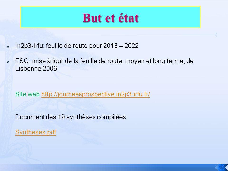  In2p3-Irfu: feuille de route pour 2013 – 2022  ESG: mise à jour de la feuille de route, moyen et long terme, de Lisbonne 2006 2 Site web http://journeesprospective.in2p3-irfu.fr/http://journeesprospective.in2p3-irfu.fr/ Document des 19 synthèses compilées Syntheses.pdf