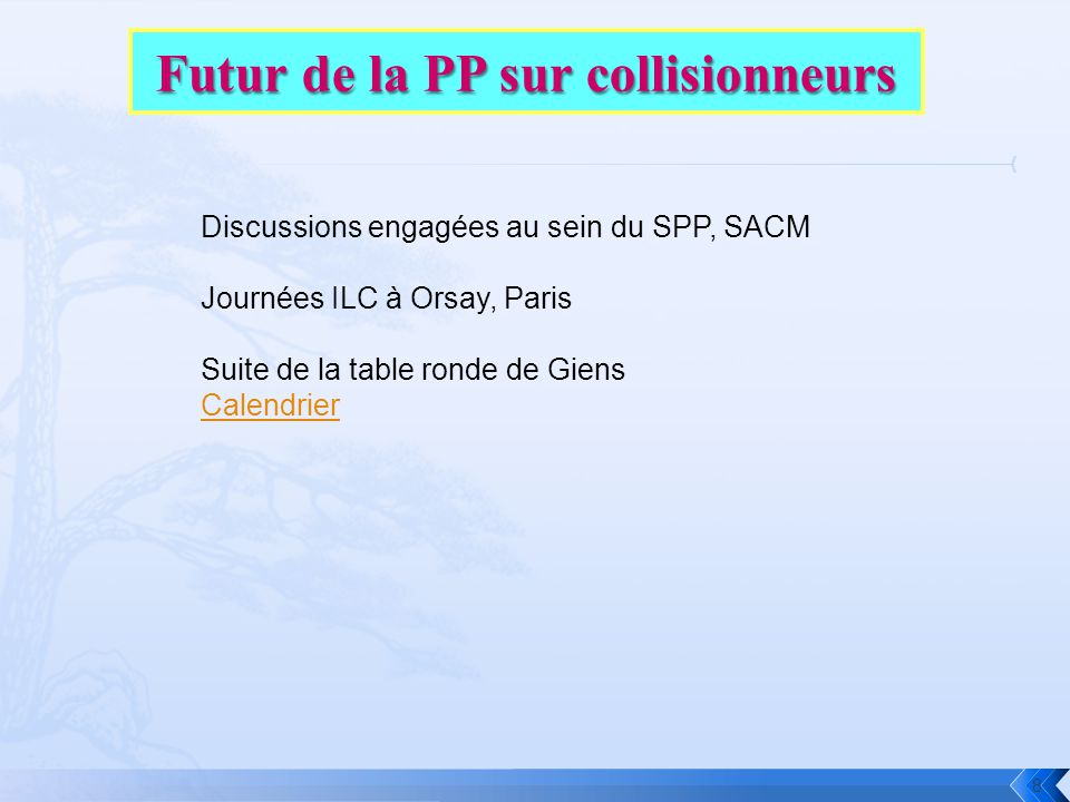 8 Discussions engagées au sein du SPP, SACM Journées ILC à Orsay, Paris Suite de la table ronde de Giens Calendrier