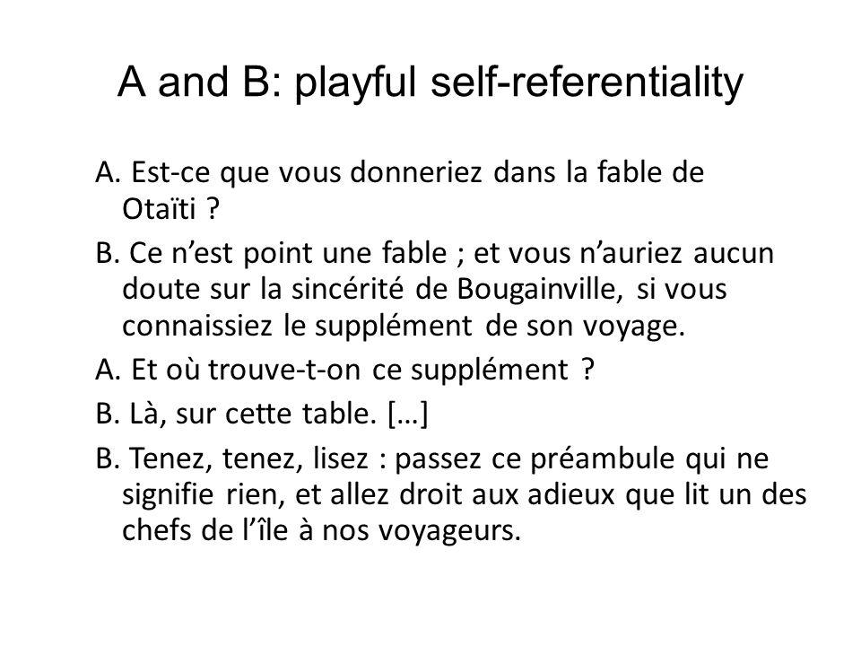 A and B: playful self-referentiality A.Est-ce que vous donneriez dans la fable de Otaïti .