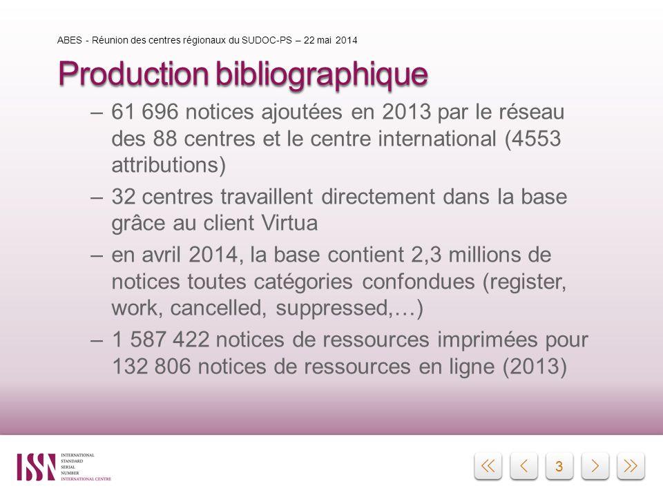 3 Production bibliographique –61 696 notices ajoutées en 2013 par le réseau des 88 centres et le centre international (4553 attributions) –32 centres
