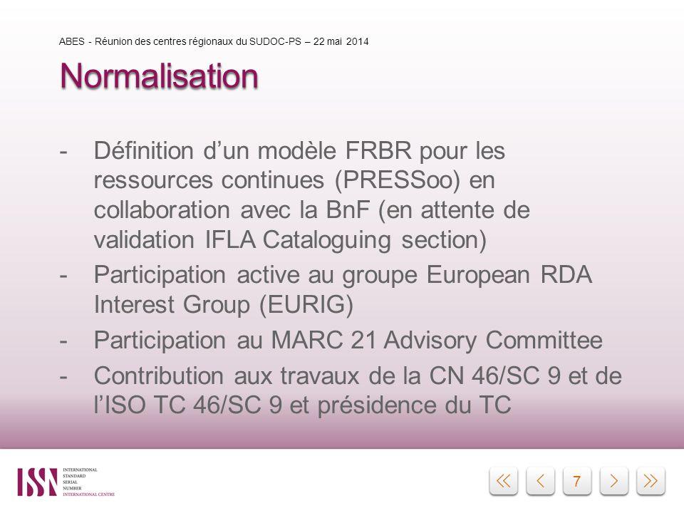 7 Normalisation -Définition d'un modèle FRBR pour les ressources continues (PRESSoo) en collaboration avec la BnF (en attente de validation IFLA Catal