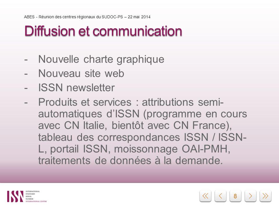 8 Diffusion et communication -Nouvelle charte graphique -Nouveau site web -ISSN newsletter -Produits et services : attributions semi- automatiques d'I
