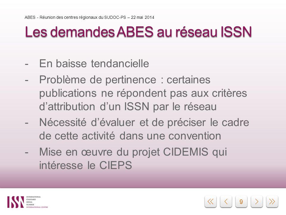 9 Les demandes ABES au réseau ISSN -En baisse tendancielle -Problème de pertinence : certaines publications ne répondent pas aux critères d'attributio
