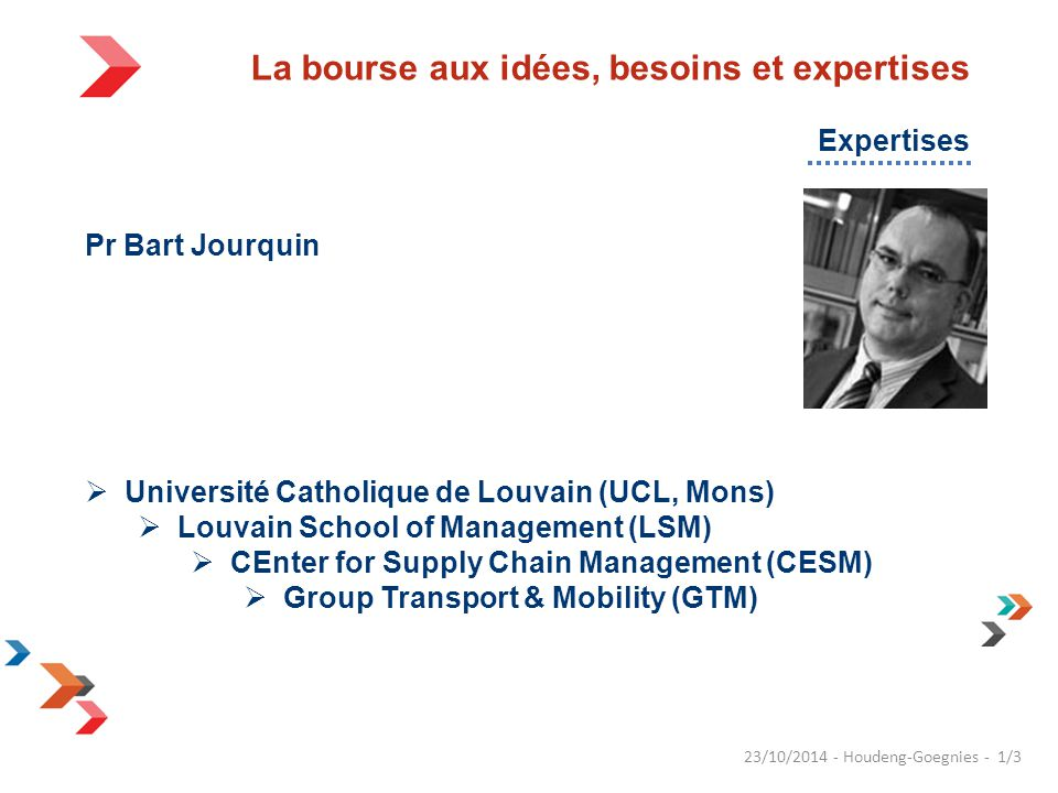 Pr Bart Jourquin  Université Catholique de Louvain (UCL, Mons)  Louvain School of Management (LSM)  CEnter for Supply Chain Management (CESM)  Gro