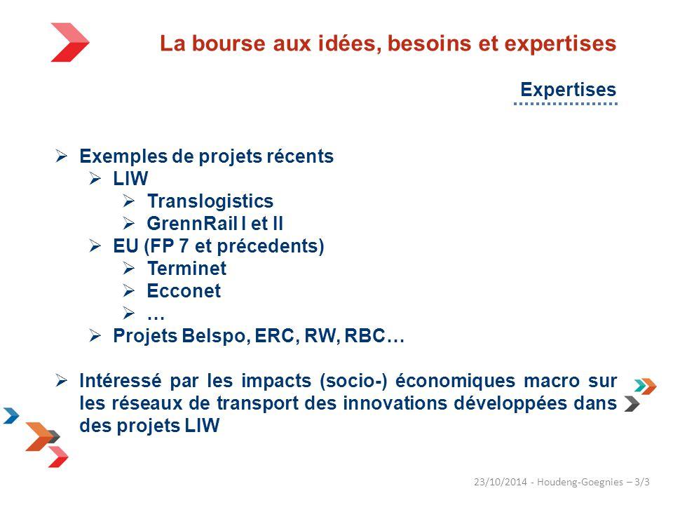 23/10/2014 - Houdeng-Goegnies – 3/3  Exemples de projets récents  LIW  Translogistics  GrennRail I et II  EU (FP 7 et précedents)  Terminet  Ecconet  …  Projets Belspo, ERC, RW, RBC…  Intéressé par les impacts (socio-) économiques macro sur les réseaux de transport des innovations développées dans des projets LIW La bourse aux idées, besoins et expertises Expertises