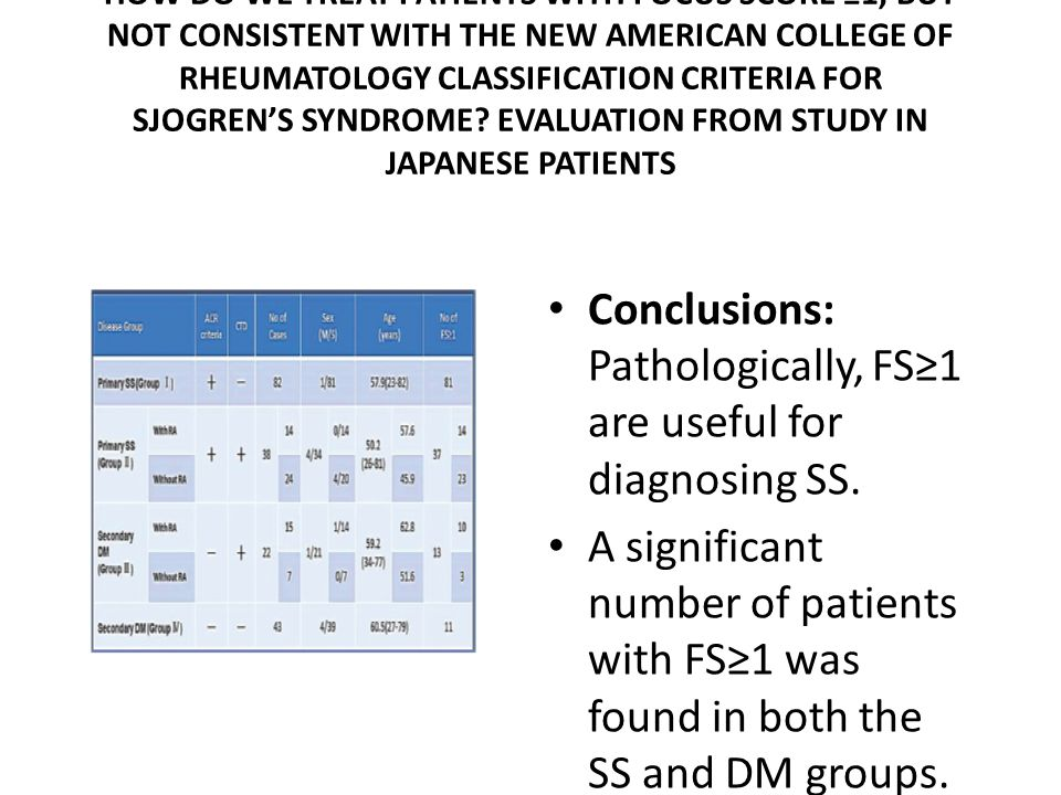 HOW DO WE TREAT PATIENTS WITH FOCUS SCORE ≥1, BUT NOT CONSISTENT WITH THE NEW AMERICAN COLLEGE OF RHEUMATOLOGY CLASSIFICATION CRITERIA FOR SJOGREN'S SYNDROME.