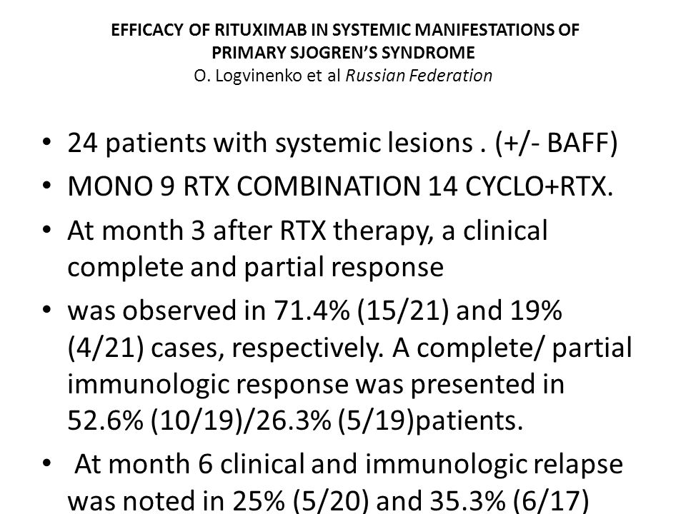 EFFICACY OF RITUXIMAB IN SYSTEMIC MANIFESTATIONS OF PRIMARY SJOGREN'S SYNDROME O.