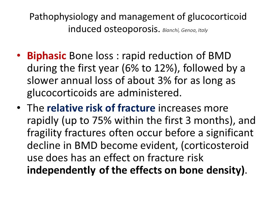 Pathophysiology and management of glucocorticoid induced osteoporosis.