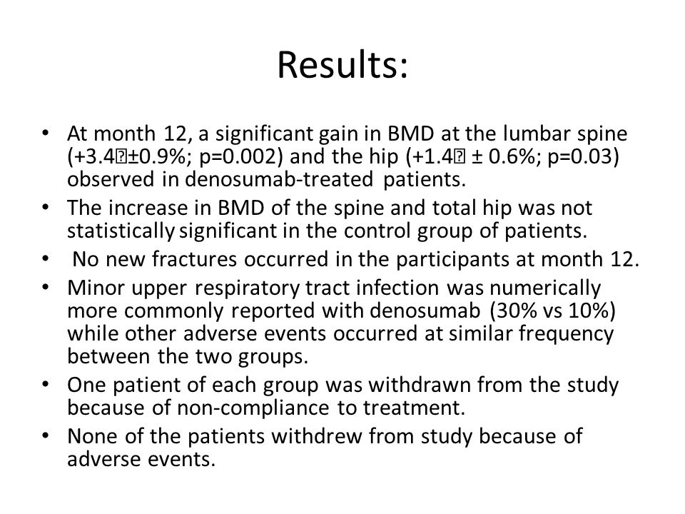 Results: At month 12, a significant gain in BMD at the lumbar spine (+3.4±0.9%; p=0.002) and the hip (+1.4 ± 0.6%; p=0.03) observed in denosumab-tre