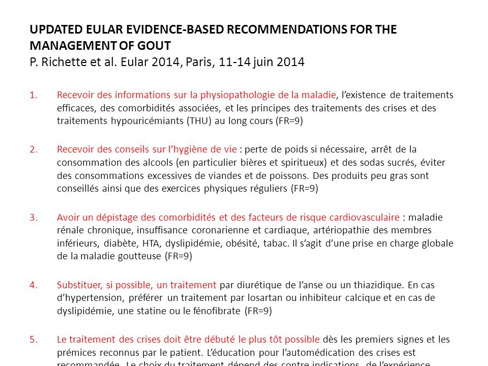 UPDATED EULAR EVIDENCE-BASED RECOMMENDATIONS FOR THE MANAGEMENT OF GOUT P.