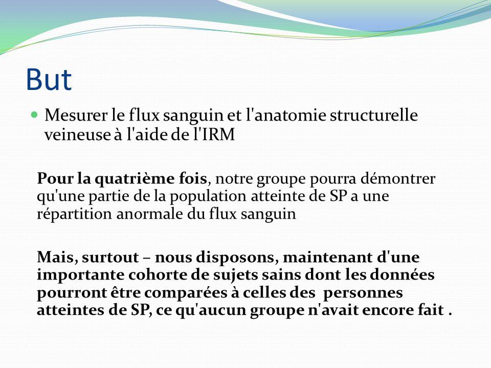 But Mesurer le flux sanguin et l'anatomie structurelle veineuse à l'aide de l'IRM Pour la quatrième fois, notre groupe pourra démontrer qu'une partie