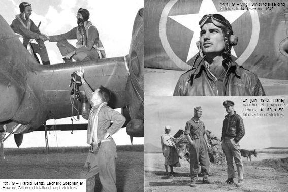 1st FG – Harold Lentz, Leonard Stephan et Howard Gilian qui totalisent sept victoires 14th FG – Virgil Smith totalise cinq victoires le 14 décembre 1942 En juin 1943, Harley Vaughn et Lawrence Liebers, du 82nd FG, totalisent neuf victoires
