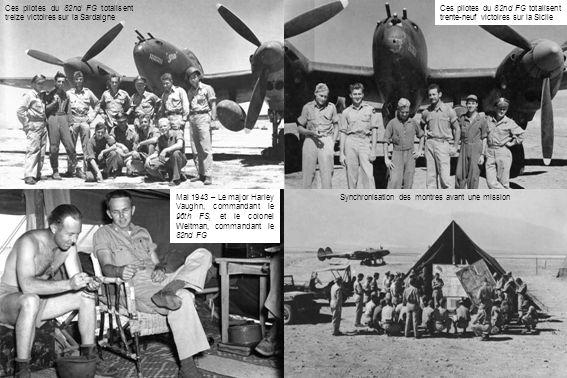 Ces pilotes du 82nd FG totalisent treize victoires sur la Sardaigne Ces pilotes du 82nd FG totalisent trente-neuf victoires sur la Sicile Mai 1943 – Le major Harley Vaughn, commandant le 96th FS, et le colonel Weltman, commandant le 82nd FG Synchronisation des montres avant une mission