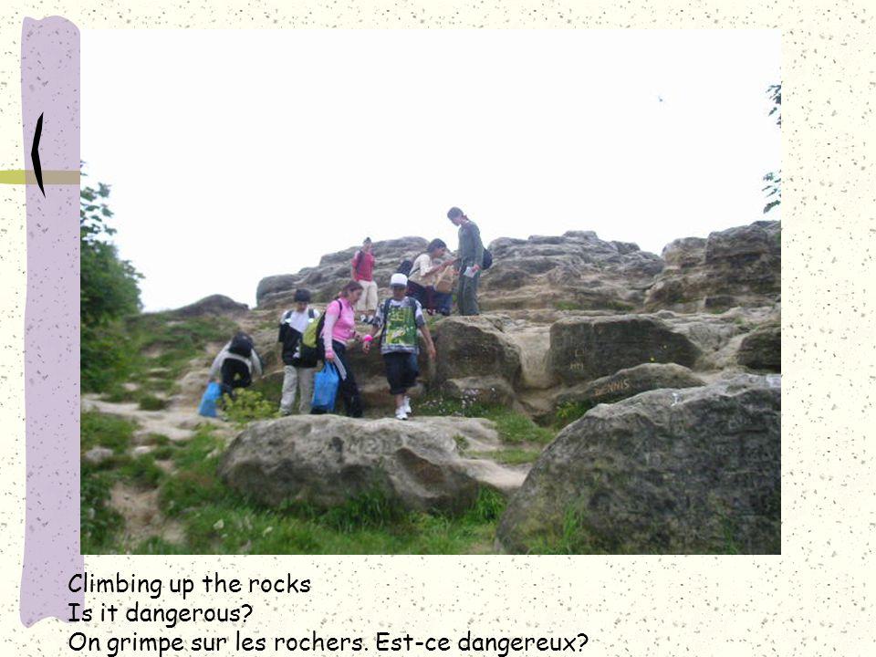 Climbing up the rocks Is it dangerous? On grimpe sur les rochers. Est-ce dangereux?