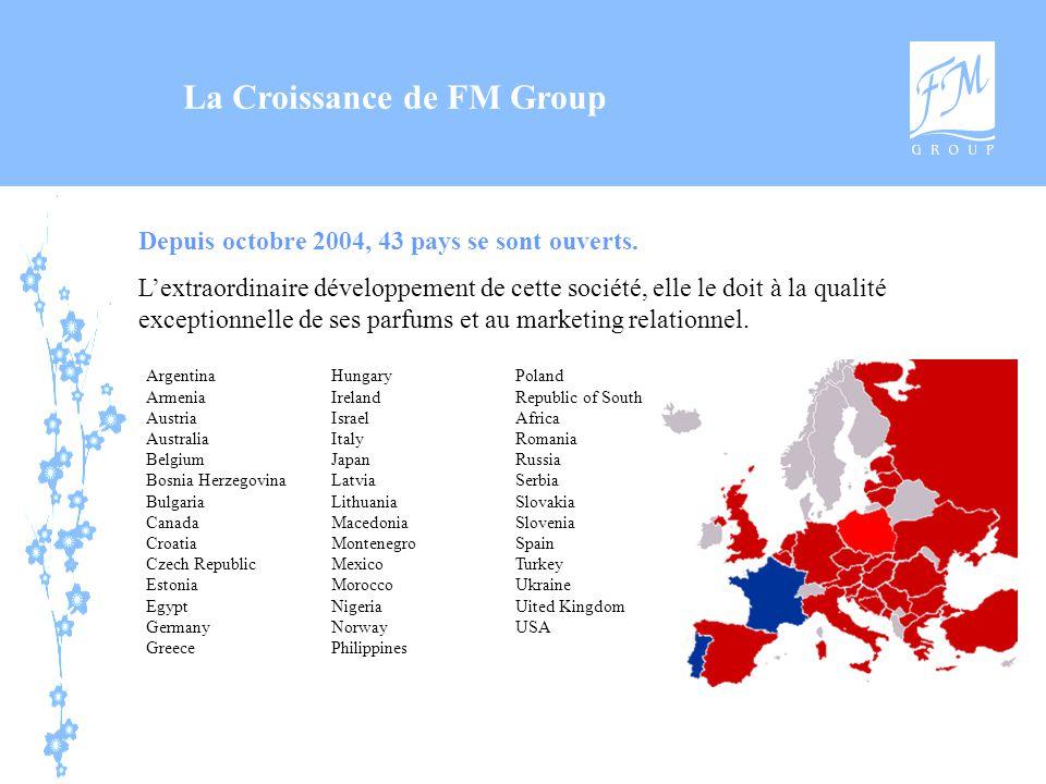La Croissance de FM Group Depuis octobre 2004, 43 pays se sont ouverts. L'extraordinaire développement de cette société, elle le doit à la qualité exc