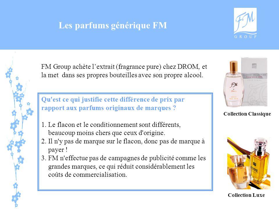 Les parfums générique FM FM Group achète l'extrait (fragrance pure) chez DROM, et la met dans ses propres bouteilles avec son propre alcool. Qu'est ce
