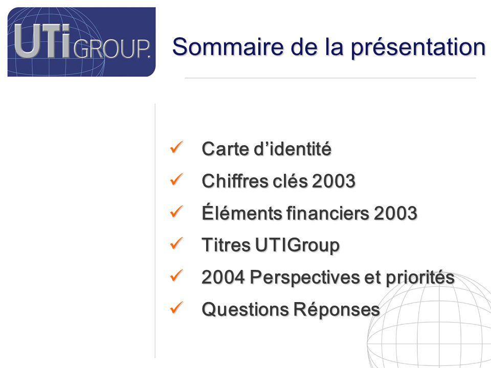 3 Carte d'identité Nom Né le N°Siret Siège Social SA au Capital de Effectifs Chiffre d'affaire 2003 Marchés Financiers UTI Group.