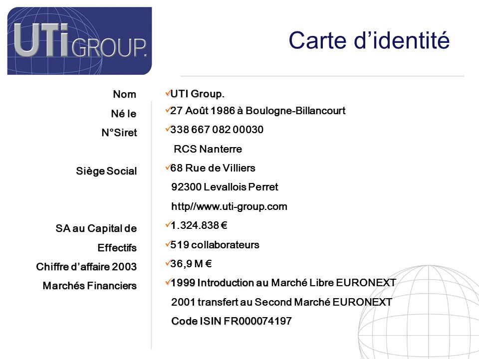 4 Carte d'identité Notre Métier Notre Marché Notre stratégie Notre tactique Société de Service et d'ingénierie Informatique.